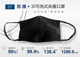 【IIKY】防護+3D可洗式抗菌夾層口罩/ 防護墊片組