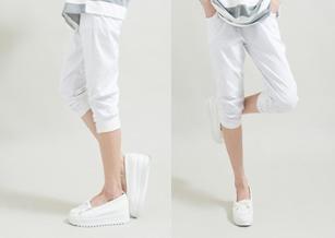 【Funsgirl】WINCOOL涼爽纖維涼感褲管羅紋抓皺七分奈米褲