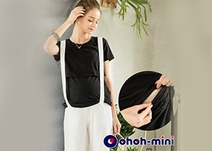 【ohoh-mini】產後涼感紗素面哺乳上衣